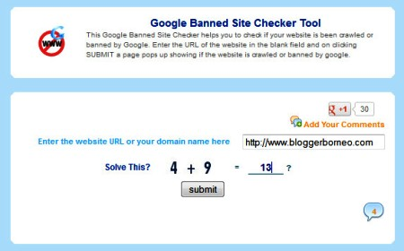 Google Banned Site Checker Tool