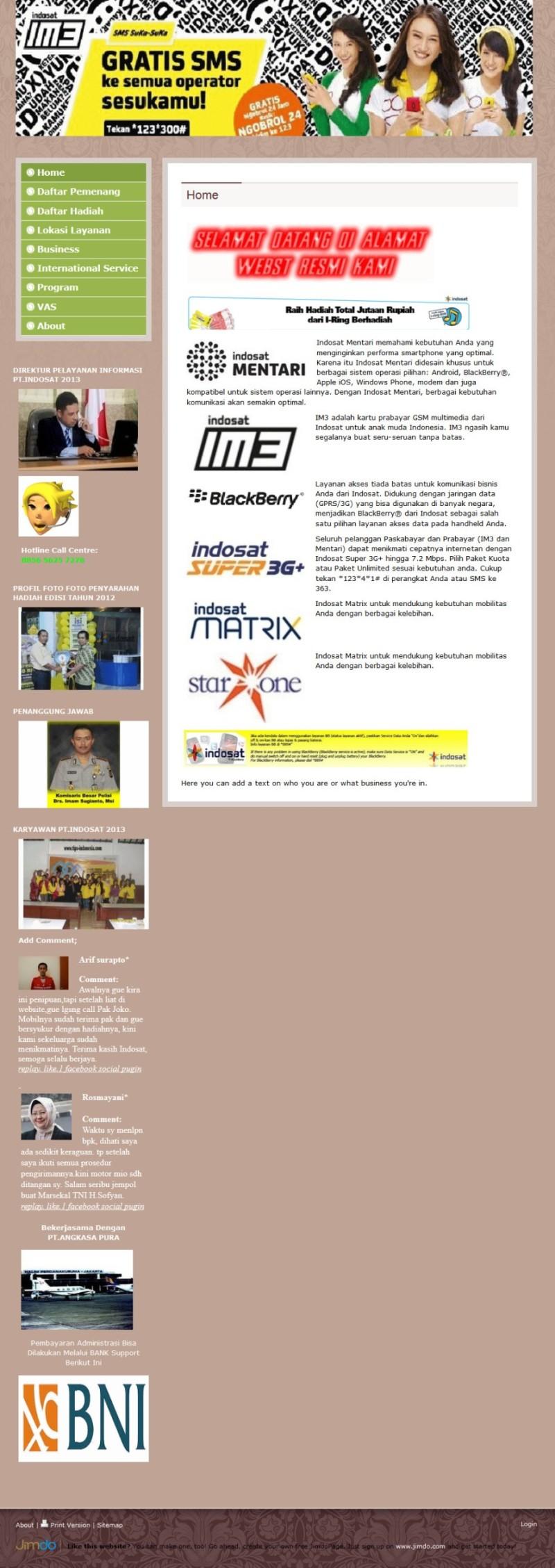 Modus Penipuan Indosat Atas Nama via Website