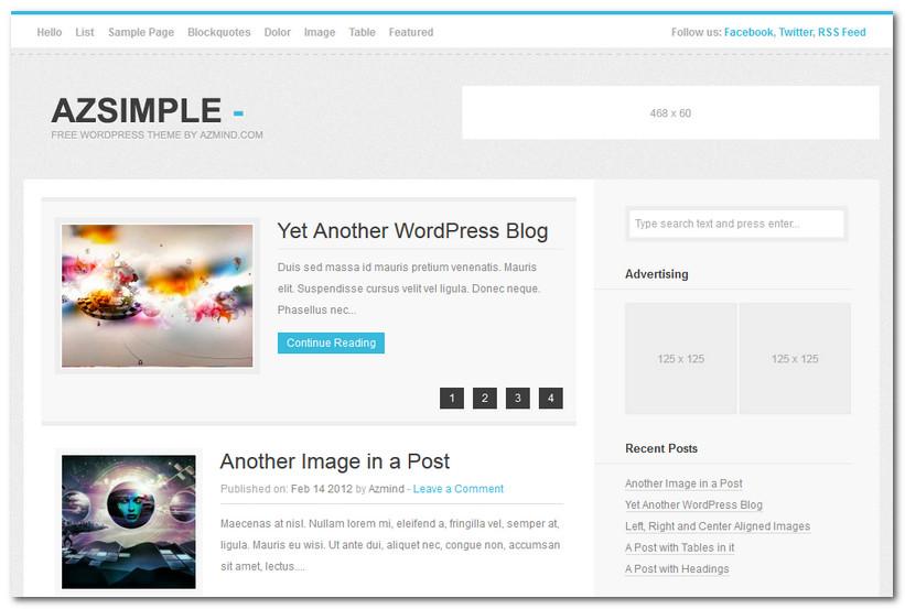 Free WordPress Theme 2013 - Azsimple