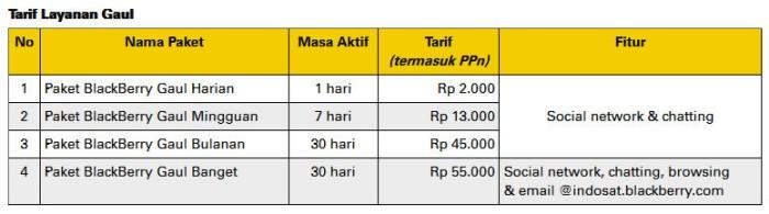 Tarif Layanan BlackBerry On Demand Gaul Indosat