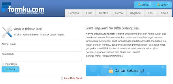 Tampilan Layanan Membuat Form Online Gratis Mudah