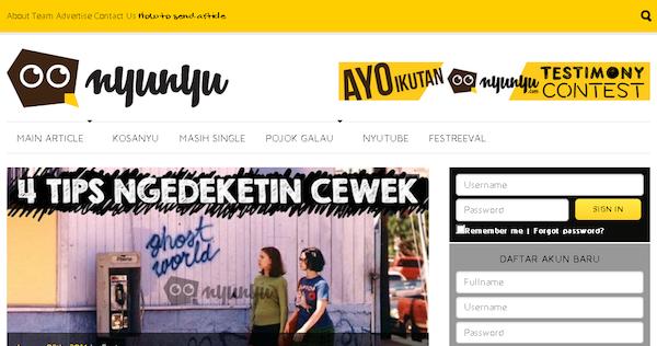 Tampilan Website Nyunyu Dot Com