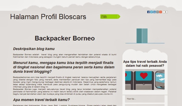 Backpacker Borneo Bloscars Award 2014 2