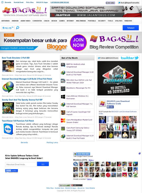Preview Tampilan Depan Bagas31.Com