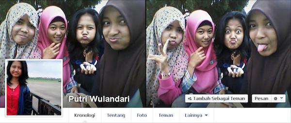 Halaman Facebook Putri Wulandari