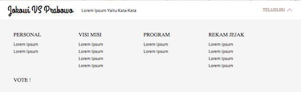 Jokowi vs Prabowo - Tampilan Menu Utama