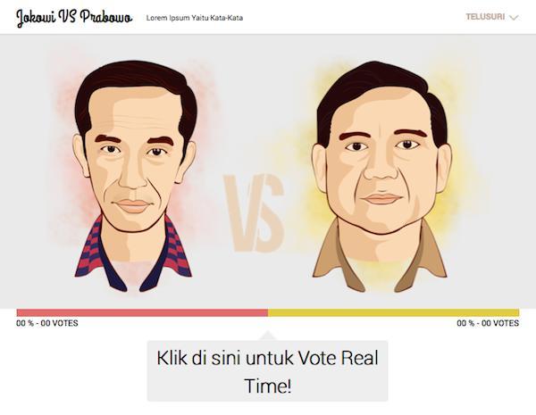 Jokowi vs Prabowo - Tampilan Website Depan