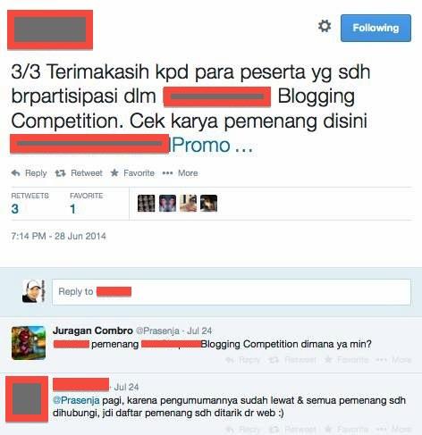 Status Pengumuman Pemenang Lomba Blog 2014