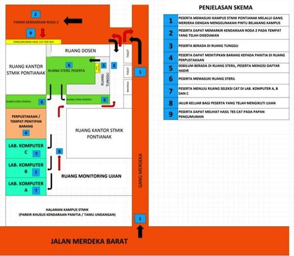 Denah Lokasi Tes CPNS Provinsi Kalimantan Barat Tahun 2014