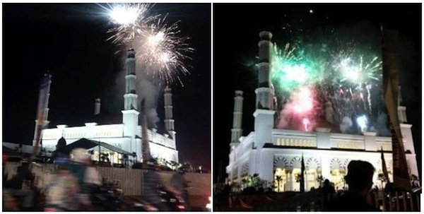 Kembang Api Diatas Kubah Masjid Raya Mujahidin Pontianak