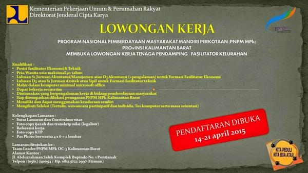 Lowongan Kerja Pontianak - Fasilitator PNPM April 2015