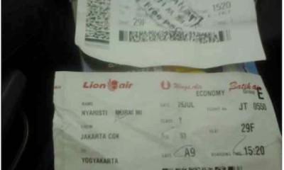Bukti Tiket Lion Air Penumpang Ganda