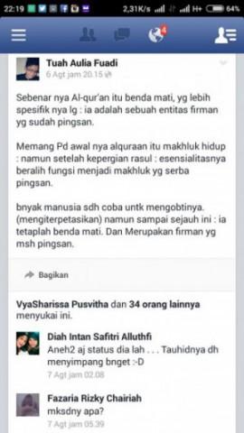 Status Facebook Tuah Aulia Fuadi Melecehkan Islam