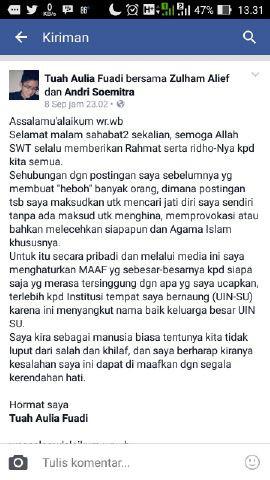 Status Permohonan Maaf Tuah Aulia Fuadi