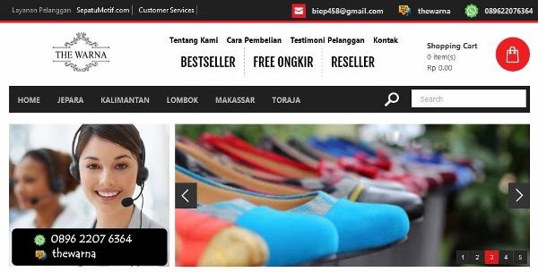 Tampilan Halaman Website Sepatu Batik dan Tenun The Warna Indonesia